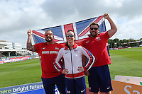 Monday August 18, 2014 <br /> Pictured: Aled Sion Davies, Dan Greaves, Stef Reid, <br /> RE: Photo call at the IPC Athletics European Championships in Swansea University, Wales, United Kingdom.