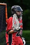 GER - Hannover, Germany, May 30: During the Men Lacrosse Playoffs 2015 match between HTHC Hamburg (black) and DHC Hannover (red) on May 30, 2015 at Deutscher Hockey-Club Hannover e.V. in Hannover, Germany. Final score 17:2. (Photo by Dirk Markgraf / www.265-images.com) *** Local caption *** Kevin Ryo Shibata #20 of DHC Hannover