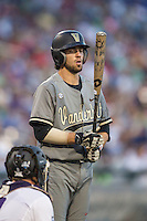 Vanderbilt Commodores shortstop Dansby Swanson (7) at the plate during the NCAA College baseball World Series against the TCU Horned Frogs on June 16, 2015 at TD Ameritrade Park in Omaha, Nebraska. Vanderbilt defeated TCU 1-0. (Andrew Woolley/Four Seam Images)