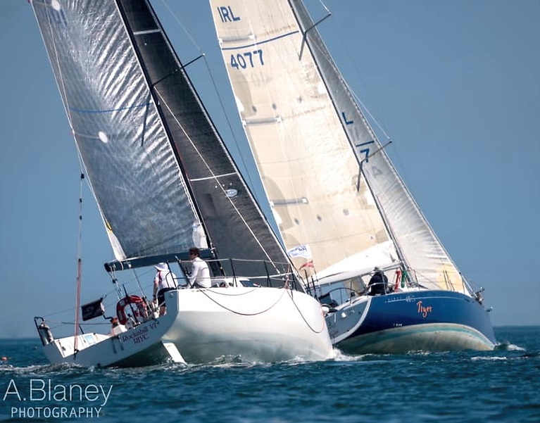 The JPK 10.80 Rockabill VI (Conor O'Higgins) and the First 40.7 Tiger (Stephen Harris) getting into the groove. Photo: Annraoi Blaney.