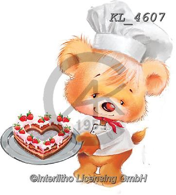 Interlitho-Fabrizio, Comics, CUTE ANIMALS, LUSTIGE TIERE, ANIMALITOS DIVERTIDOS, paintings+++++,bears,cook,cake,heart,KL4607,#v#, EVERYDAY.sticker,stickers