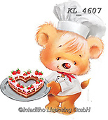 Interlitho-Fabrizio, Comics, CUTE ANIMALS, LUSTIGE TIERE, ANIMALITOS DIVERTIDOS, paintings+++++,bears,cook,cake,heart,KL4607,#v#, EVERYDAY.sticker,stickers