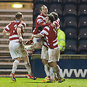 Accies Stevie May is congratulated after he scores their second goal.