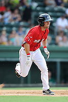 Right fielder Cole Sturgeon (35) of the Greenville Drive in a game against the Augusta GreenJackets on Sunday, July 13, 2014, at Fluor Field at the West End in Greenville, South Carolina. Sturgeon is a tenth-round pick of the Boston Red Sox in the 2014 First-Year Player Draft out of the University of Louisville. Greenville won, 8-5. (Tom Priddy/Four Seam Images)