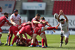 Guiness Pro12<br /> Scarlets scrum half Gareth Davies kicks the ball away from the back of the scrum under pressure from Ulster flanker Robbie Diack.<br /> Scarlets v Ulster<br /> Parc y Scarlets<br /> <br /> 06.09.14<br /> ©Steve Pope-SPORTINGWALES