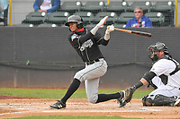 Lansing Lugnuts right fielder Edward Palacios (2) swings during a game against the Clinton LumberKings at Ashford University Field on May 9, 2017 in Clinton, Iowa.  The Lugnuts won 11-6.  (Dennis Hubbard/Four Seam Images)