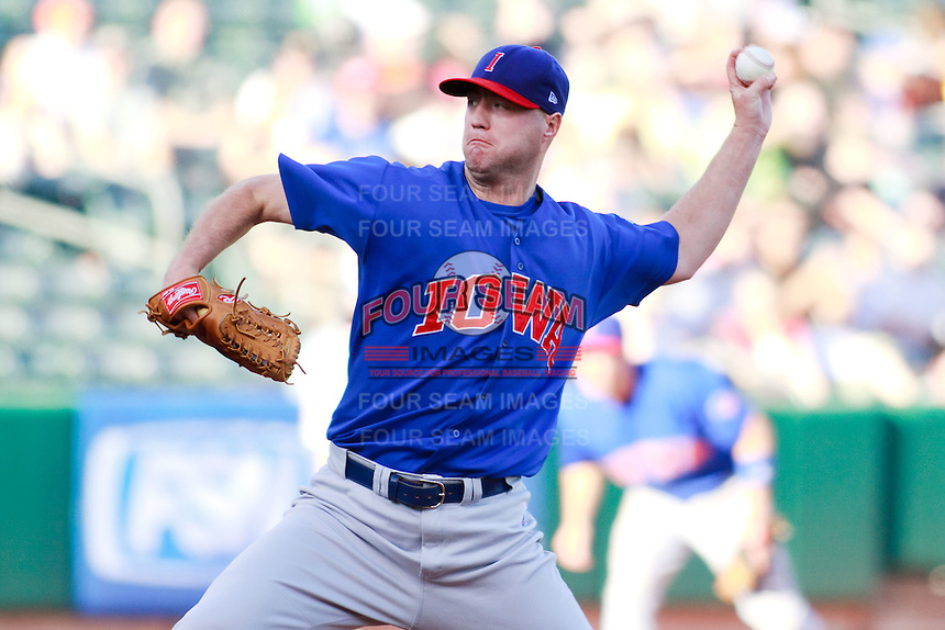 May 18, 2009:  J.R. Mathes of the Iowa Cubs, Pacific Cost League Triple A affiliate of the Chicago Cubs, during a game at the Spring Mobile Ballpark in Salt Lake City, UT.  Photo by:  Matthew Sauk/Four Seam Images
