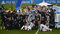 Football: Super Cup Final Juventus vs Napoli at Mapei Stadium in Reggio Emilia, on January 20,  2021.<br /> Juventus' players coach and staff celebrate after winning 2-0  the Italian Super Cup Final match between Juventus and Napoli at Mapei Stadium in Reggio Emilia, on January 20,  2021.<br /> UPDATE IMAGES PRESS/Isabella Bonotto