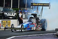 Apr. 27, 2012; Baytown, TX, USA: NHRA top fuel dragster driver Cory McClenathan during qualifying for the Spring Nationals at Royal Purple Raceway. Mandatory Credit: Mark J. Rebilas-