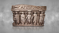 """Roman relief sculpted sarcophagus with kline couch lid, """"Columned Sarcophagi of Asia Minor"""" style typical of Sidamara, 3rd Century AD, Konya Archaeological Museum, Turkey."""