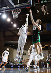 SIOUX FALLS, SD - MARCH 7: Carlos Jurgens #11 of the Oral Roberts Golden Eagles battles for a rebound with Mitchell Sueker #35 of the North Dakota Fighting Hawks during the Summit League Basketball Tournament at the Sanford Pentagon in Sioux Falls, SD. (Photo by Richard Carlson/Inertia)