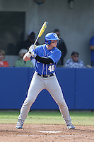 Thomas Bernal (46) of the Kentucky Wildcats bats during a game against the UC Santa Barbara Gauchos at Caesar Uyesaka Stadium on March 20, 2015 in Santa Barbara, California. UC Santa Barbara defeated Kentucky, 10-3. (Larry Goren/Four Seam Images)