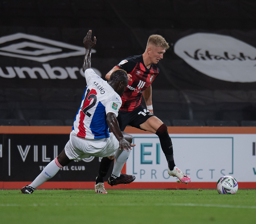 Crystal Palace's Mamadou Sakho (left) battles for possession with Bournemouth's Sam Surridge (right)<br /> <br /> Photographer David Horton/CameraSport<br /> <br /> Carabao Cup Second Round Southern Section - Bournemouth v Crystal Palace - Tuesday 15th September 2020 - Vitality Stadium - Bournemouth<br />  <br /> World Copyright © 2020 CameraSport. All rights reserved. 43 Linden Ave. Countesthorpe. Leicester. England. LE8 5PG - Tel: +44 (0) 116 277 4147 - admin@camerasport.com - www.camerasport.com