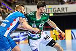 Nemanja Zelenovic (FRISCH AUF! Goeppingen #42) ; Samuel Roethlisberger (TVB Stuttgart #17) ; BGV Handball Cup 2020 Finaltag: TVB Stuttgart vs. FRISCH AUF Goeppingen am 13.09.2020 in Stuttgart (PORSCHE Arena), Baden-Wuerttemberg, Deutschland<br /> <br /> Foto © PIX-Sportfotos *** Foto ist honorarpflichtig! *** Auf Anfrage in hoeherer Qualitaet/Aufloesung. Belegexemplar erbeten. Veroeffentlichung ausschliesslich fuer journalistisch-publizistische Zwecke. For editorial use only.