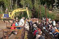 Gold mining and panning demonstration at the Eldorado Gold Mine, Fairbanks, Alaska