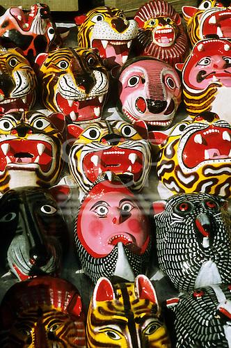 Mexico City. Brightly coloured souvenir masks at the street market near Templo Mayor, Zocalo. Plaza de la Constituicao.