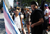 Militant Esteban Torres seen taking part in the Transexuals yearly march in Montreal, August 9, 2015 during pride week end.<br /> <br /> Photo : Agence Quebec Presse