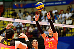 Di Yao of China serves the ball during the FIVB Volleyball Nations League Hong Kong match between China and Argentina on May 29, 2018 in Hong Kong, Hong Kong. Photo by Marcio Rodrigo Machado / Power Sport Images