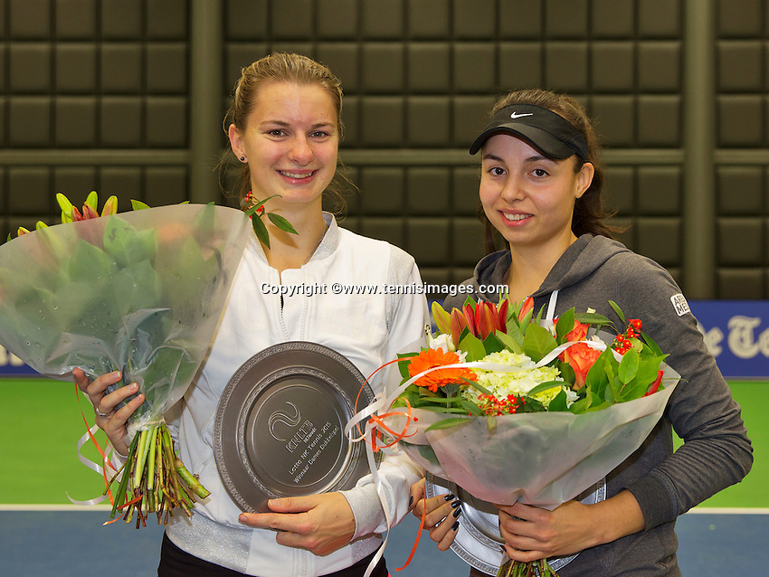 Rotterdam, Netherlands, December 19, 2015,  Topsport Centrum, Lotto NK Tennis, Womans Double final, winners: Quirine Lemoine (L) and Eva Wacano (NED)<br /> Photo: Tennisimages/Henk Koster