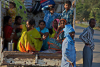 On the road from Varanasi India to Lumbini Nepal road scene in the rural area.