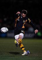 Photo: Richard Lane/Richard Lane Photography. London Wasps v Leinster Rugby. Amlin Challenge Cup Quarter Final. 05/04/2013. Wasps' Nick Robinson kicks.