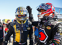 Jul 28, 2017; Sonoma, CA, USA; NHRA top fuel driver Toy Schumacher (left) and teammate Antron Brown during qualifying for the Sonoma Nationals at Sonoma Raceway. Mandatory Credit: Mark J. Rebilas-USA TODAY Sports