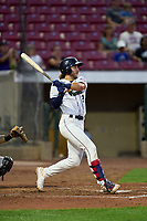 Cedar Rapids Kernels Seth Gray (18) bats during a game against the Wisconsin Timber Rattlers on August 17, 2021 at Perfect Game Field in Cedar Rapids, Iowa.  (Mike Janes/Four Seam Images)