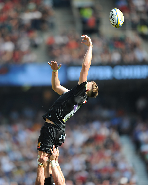 Jonny Hill of Exeter Chiefs is unable to catch a miss throw during a lineout during the Aviva Premiership Rugby Final between Exeter Chiefs and Saracens at Twickenham Stadium on Saturday 26th May 2018 (Photo by Rob Munro/Stewart Communications)