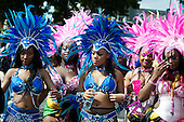 Mas bands on parade at Notting Hill Carnival, London.