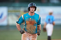 Tyler White (16) (Tusculum College) of the Mooresville Spinners rounds the bases during the game against the Dry Pond Blue Sox at Moor Park on July 2, 2020 in Mooresville, NC.  The Spinners defeated the Blue Sox 9-4. (Brian Westerholt/Four Seam Images)