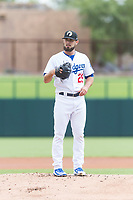 Glendale Desert Dogs starting pitcher Ben Holmes (29), of the Los Angeles Dodgers organization, during an Arizona Fall League game against the Scottsdale Scorpions at Camelback Ranch on October 16, 2018 in Glendale, Arizona. Scottsdale defeated Glendale 6-1. (Zachary Lucy/Four Seam Images)