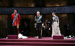Oliver Chris, Tim Pigott-Smith, Lydia Wilson and Richard Goulding  during the Broadway Opening Night performance curtain call bows for 'King Charles III' at the Music Box Theatre on November 1, 2015 in New York City.