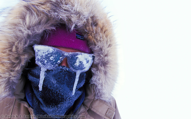 Man with icicles on glasses on a chilly minus 43 degree day in downtown Fairbanks, Alaska