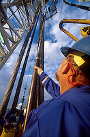 Oil rig worker guiding tool, rigging up