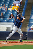 Francisco Del Valle (9) of Puerto Rico Baseball Academy in Santa Isabel, Puerto Rico playing for the Tampa Bay Rays scout team during the East Coast Pro Showcase on July 28, 2015 at George M. Steinbrenner Field in Tampa, Florida.  (Mike Janes/Four Seam Images)