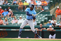Tampa Bay Rays right fielder Jesus Sanchez (65) at bat during a Grapefruit League Spring Training game against the Baltimore Orioles on March 1, 2019 at Ed Smith Stadium in Sarasota, Florida.  Rays defeated the Orioles 10-5.  (Mike Janes/Four Seam Images)