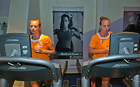 Moskou, Russia, Februari 4, 2016,  Fed Cup Russia-Netherlands,  Dutch team in fitness center, Cindy Burger and Richel Hogenkamp (R) on he runner belt<br /> Photo: Tennisimages/Henk Koster