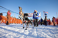 Alea Robinson dogs at the start line of the Junior Iditarod  at Knik Lake, Knik, Alaska