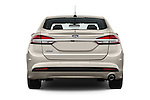 Straight rear view of 2017 Ford Fusion Energi Plug-In Hybrid SE Luxury 4 Door Sedan Rear View  stock images