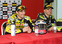Winner Josh Brookes of Anvil Hire Tag Racing during the press conference with Third place James Ellison of McAMS Yamaha (Right) after the Final of the MCE British Superbikes in Association with Pirelli round 12 2017 - BRANDS HATCH (GP) at Brands Hatch, Longfield, England on 15 October 2017. Photo by Alan  Stanford / PRiME Media Images.