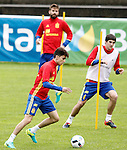 Spain's Marc Bartra, Gerard Pique and Mikel San Jose during preparing training stage to Euro 2016. May 30,2016.(ALTERPHOTOS/Acero)