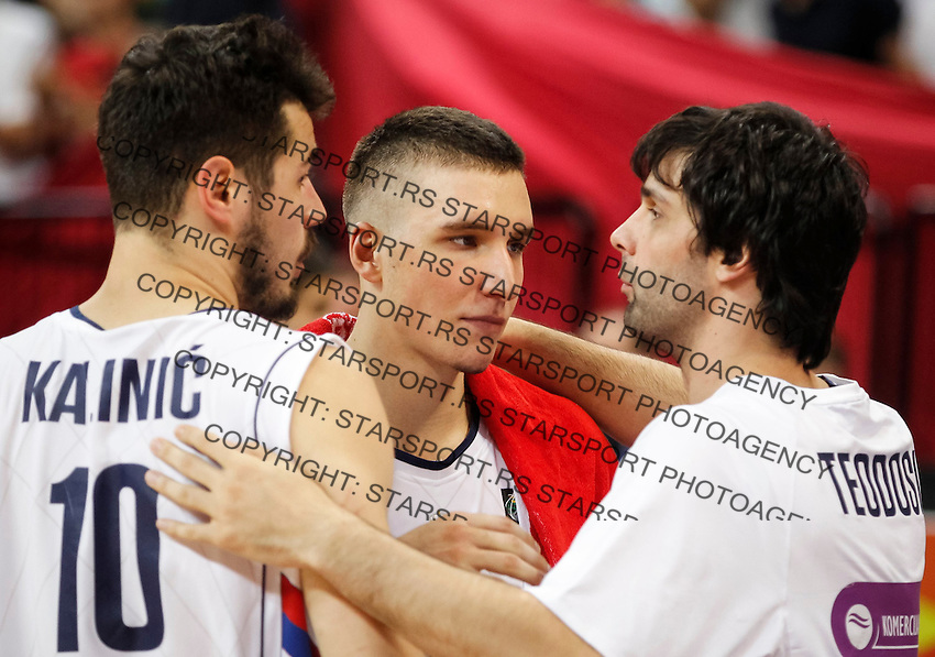 Kosarka FIBA Olympic Basketball Qualifying Tournament-FINAL<br /> Serbia v Puerto Rico<br /> Nikola Kalinic (L) Bogdan Bogdanovic and Milos Teodosic (R)<br /> Beograd, 09.07.2016.<br /> foto: Srdjan Stevanovic/Starsportphoto©