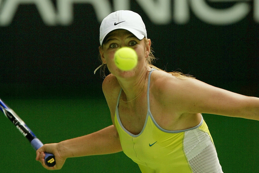 Maria Sharapove takes a close look at the ball during a match at the Australian Open.