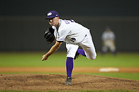 Winston-Salem Dash relief pitcher Ian Clarkin (19) follows through on his delivery against the Frederick Keys at BB&T Ballpark on July 26, 2018 in Winston-Salem, North Carolina. The Keys defeated the Dash 6-1. (Brian Westerholt/Four Seam Images)