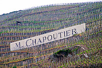 Terraced vineyards in the Cote Rotie district around Ampuis in northern Rhone planted with the Syrah grape. A sign saying M Chapoutier one of the producers.  Ampuis, Cote Rotie, Rhone, France, Europe