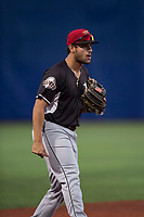 Salem-Keizer Volcanoes third baseman David Villar (5) during a Northwest League game against the Hillsboro Hops at Ron Tonkin Field on September 1, 2018 in Hillsboro, Oregon. The Salem-Keizer Volcanoes defeated the Hillsboro Hops by a score of 3-1. (Zachary Lucy/Four Seam Images)