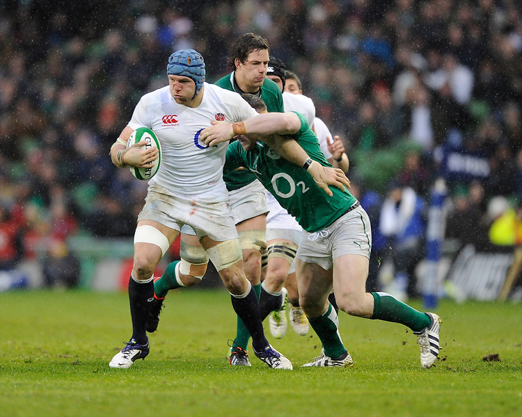 James Haskell of England in action during the RBS 6 Nations match between Ireland and England at the Aviva Stadium, Dublin on Sunday 10 February 2013 (Photo by Rob Munro)