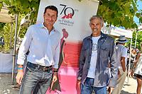 David LISNARD et Paul BELMONDO, tournoi de pétanque des personnalités, pendant le soixante-dixième (70ème) Festival du Film à Cannes, Allées de la Liberté, Cannes, Sud de la France, samedi 27 mai 2017. Philippe FARJON / VISUAL Press Agency