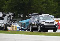Aug 20, 2016; Brainerd, MN, USA; NHRA top fuel driver Morgan Lucas during qualifying for the Lucas Oil Nationals at Brainerd International Raceway. Mandatory Credit: Mark J. Rebilas-USA TODAY Sports