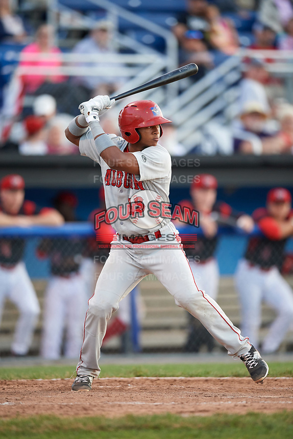 Auburn Doubledays catcher Jeyner Baez (13) at bat during a game against the Batavia Muckdogs on June 19, 2017 at Dwyer Stadium in Batavia, New York.  Batavia defeated Auburn 8-2 in both teams opening game of the season.  (Mike Janes/Four Seam Images)